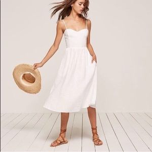 NWT reformation Olivia Linen Dress white